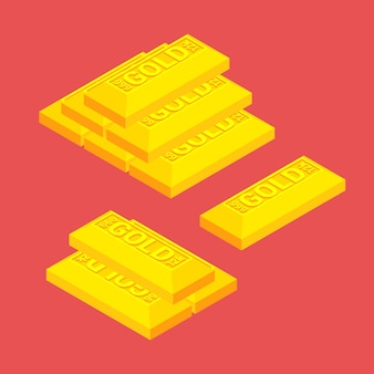 Isometric golden bars on the red background