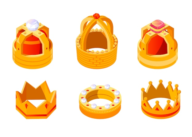 Isometric golden king or queen crown set with gems