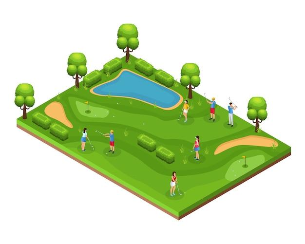Изометрическая концепция поля для гольфа с гольфистами, играющими на полевых флагах, дырках, зеленых лужайках, деревьях и пруду