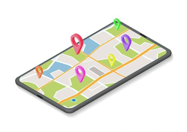 Isometric gps navigation concept.