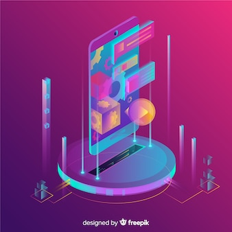 Isometric gradient 3d mobile phone background
