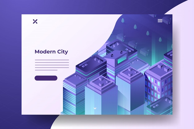 Isometric gradient city at night banner