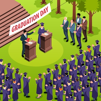 Isometric graduation composition with crowd of students in hats and speakers at tribunes with text placard