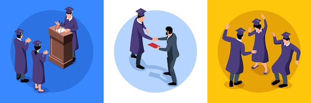 Isometric graduation design concept with round compositions
