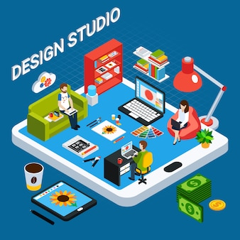 Isometric graphic design studio concept with illustrator or designer working on computer and tablet