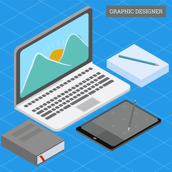 Isometric graphic designer workdesk concept