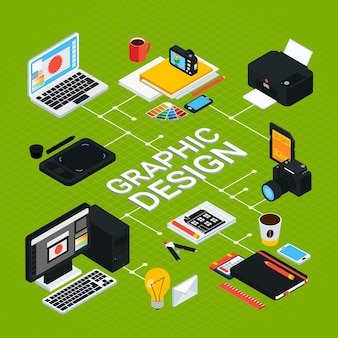 Isometric graphic  infographics with various objects for work such as computer swatches printer tablet pencil 3d