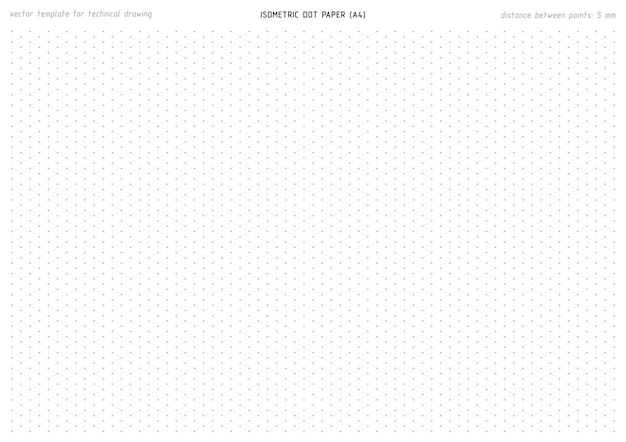 Isometric gray dot paper for draft technical drawing