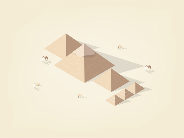 Isometric  of the great pyramid giza of egypt