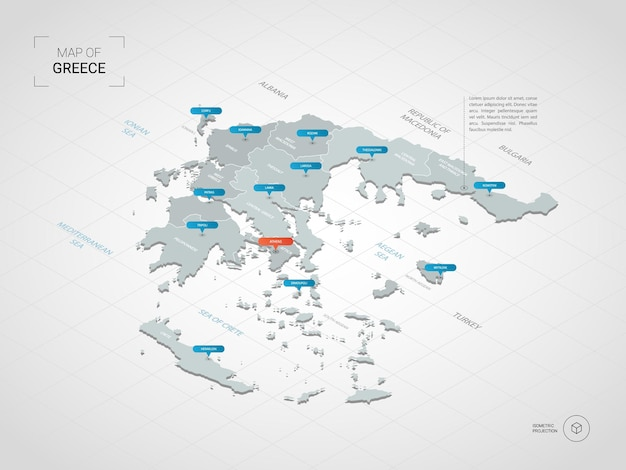 Isometric   greece map. stylized  map illustration with cities, borders, capital, administrative divisions and pointer marks; gradient background with grid.