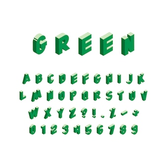 Isometric green alphabet on white background