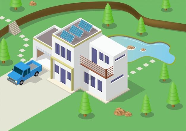 ソーラーパネルと等尺性グリーンエコフレンドリーな家。