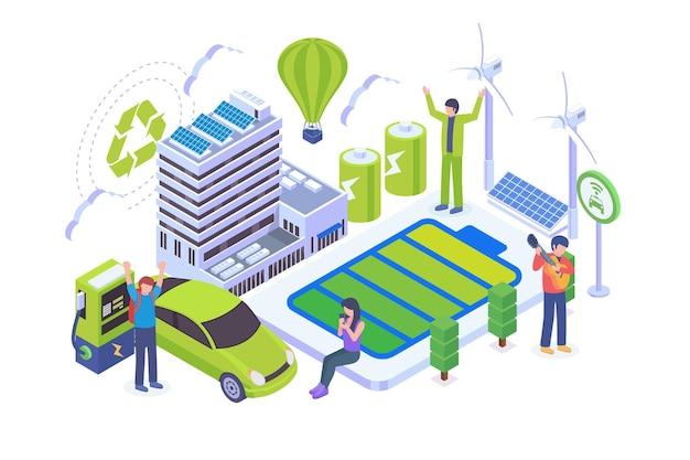 Isometric green eco lifestyle vector concept