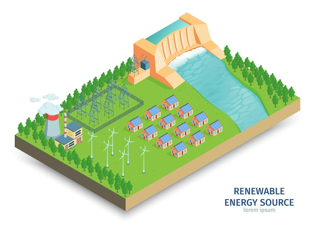 Isometric green energy composition with view of power infrastructure with hydroelectric generating station and wind turbines
