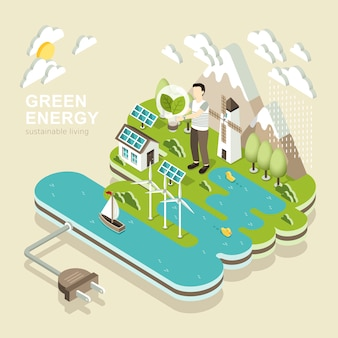 Isometric  of green energy