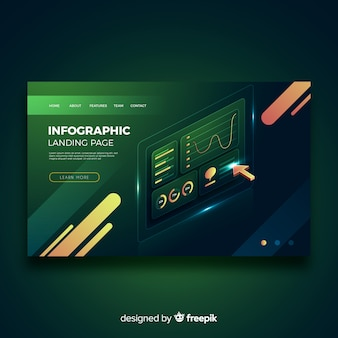 Isometric green infographic landing page