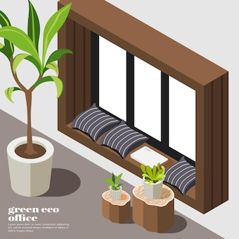Isometric green office background with eco equipment and tools plants and furniture