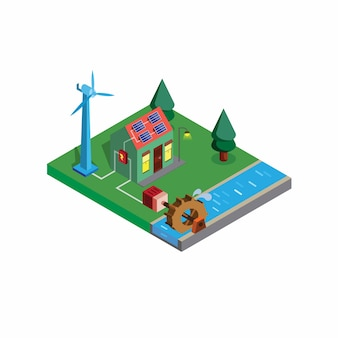Isometric green smart house alternative electricity