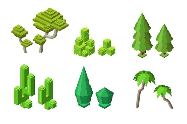 Изометрические зеленые деревья, растения. пальма, ель, кактусовый куст, ствол.