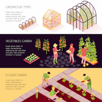 Isometric greenhouse banners