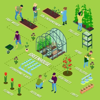 Isometric greenhouse flowchart