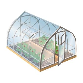 식물과 오픈 도어 유리 아이소 메트릭 온실. 흰색 배경에 고립 된 그림 아이콘입니다.