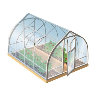 Isometric greenhouse with plants and glass with open door. isolated illustration icon on white background.