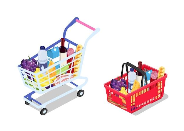 Изометрические продуктовая тележка и корзина