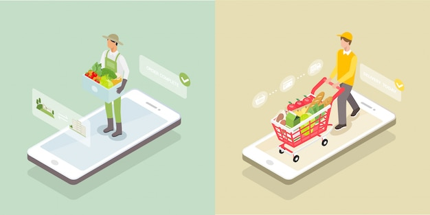 Isometric grocery delivery on the smartphone screen