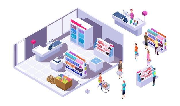 Изометрические интерьер продуктового магазина. покупатели, стенды с товарами и кассир. изолированные покупатели в супермаркете векторные иллюстрации. изометрические кассир и супермаркет с людьми