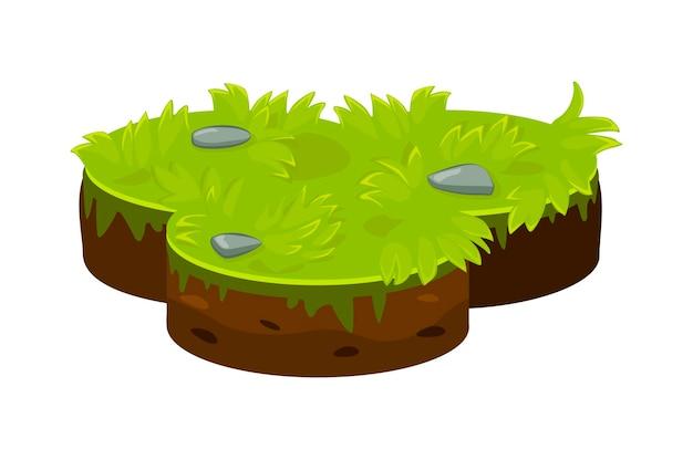 Изометрические наземная островная платформа с зеленой травой. слои газона и почвы.