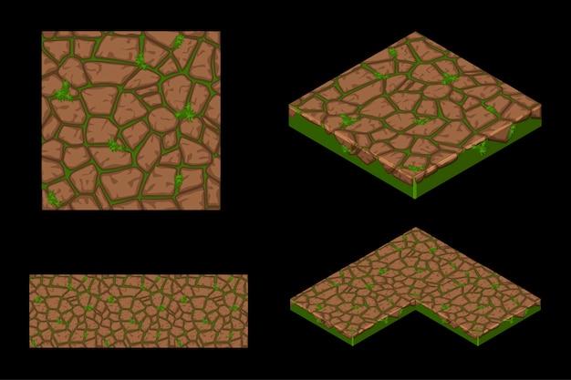 Изометрические текстуры земли бесшовные плитки