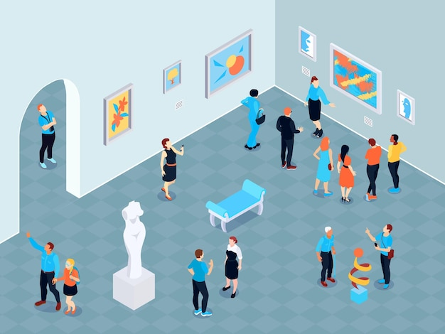 Isometric guide excursion art museum composition with indoor view of art gallery with paintings and sculptures  illustration