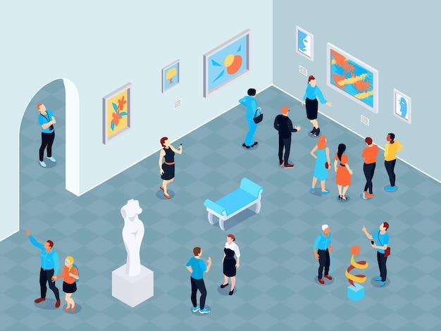 그림과 조각 그림이있는 미술관의 실내 전망이있는 아이소 메트릭 가이드 여행 미술관 구성