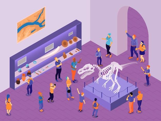 Escursione della guida isometrica alla composizione del museo storico con vista interna della sala espositiva con illustrazione dei personaggi dei visitatori
