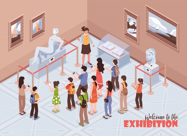 等尺性ガイドエクスカーションミュージアムコンポジションとテキストと歴史博物館の屋内ビュー