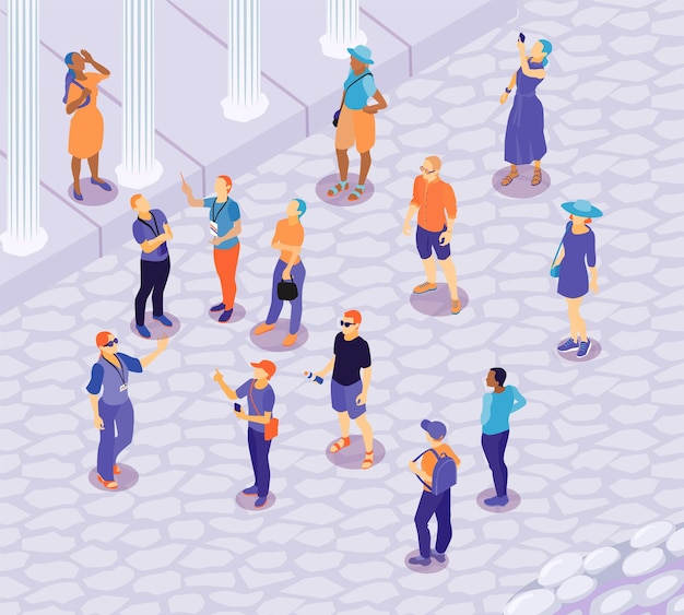 Isometric guide excursion outdoor composition with view of ancient landscape with column pillars and human characters