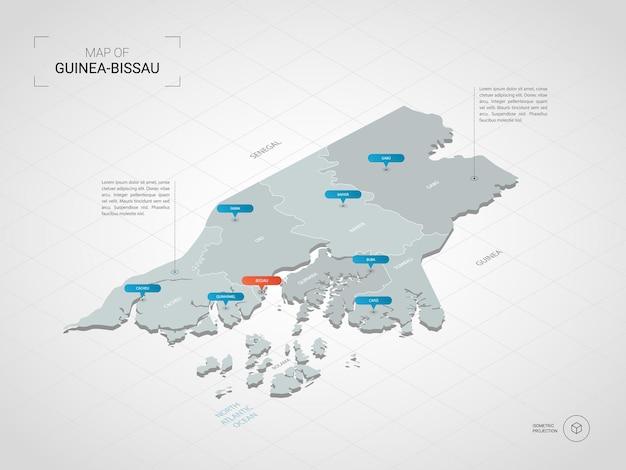 Изометрическая карта гвинеи-бисау. стилизованная иллюстрация карты с городами, границами, столицей, административным делением и указателем отмечает градиентный фон с сеткой.