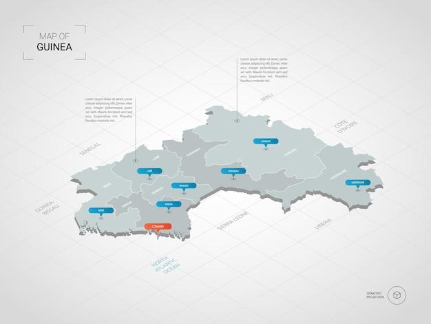 Изометрическая карта гвинеи. стилизованная иллюстрация карты с городами, границами, столицей, административным делением и указателями; градиентный фон с сеткой.