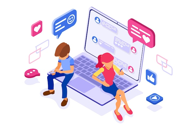 Isometric guy and girl chat in social networks send messages