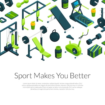 Isometric gym banner