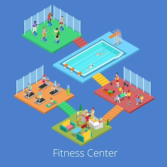 무술 실, 체육관 및 물 수영장 아이소 메트릭 체육관 휘트니스 클럽 스포츠 센터 인테리어. 삽화