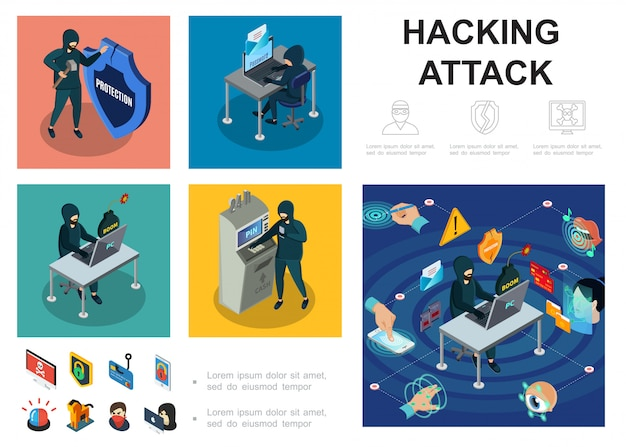 Isometric hacker activity template with computer servers atm hacking cyber thief online money steal biometric authorization security