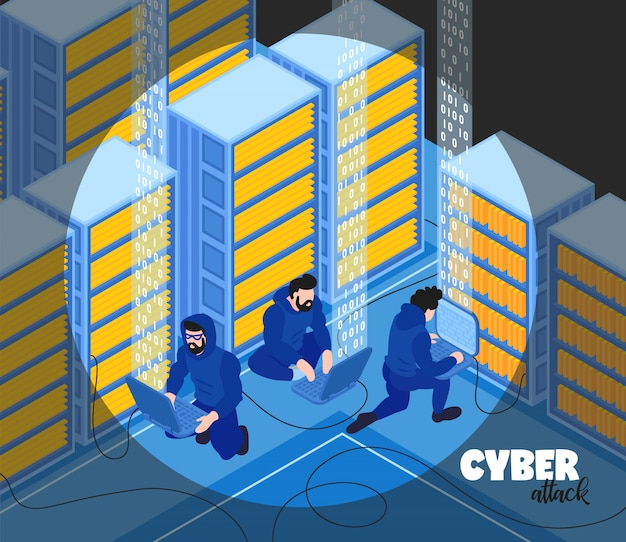 Isometric hacker composition  with text and view of hackers group human characters with server racks vector illustration