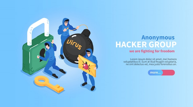 Isometric hacker horizontal banner with editable text slider button and conceptual images of locks bugs viruses vector illustration
