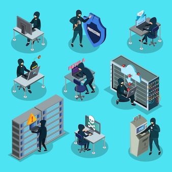 Isometric hacking activity elements set