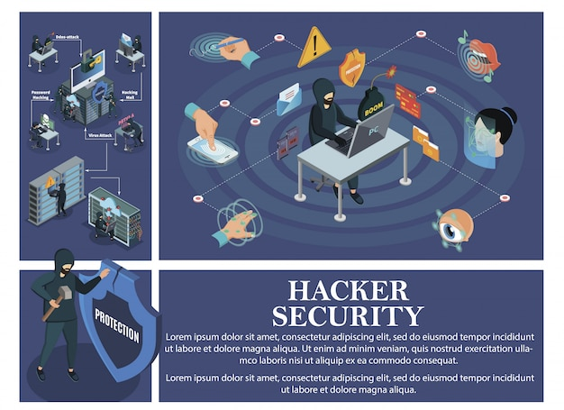Isometric hacking attack composition with elements of biometric identification security and hackers breaking personal computers data centers cloud servers