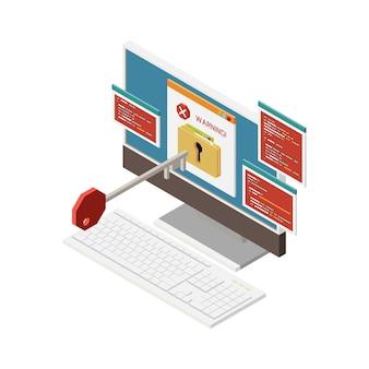 Изометрическая взломанная иллюстрация кражи пароля с 3d-ключом компьютера и предупреждением