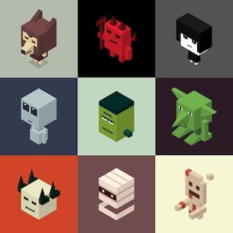 Isometric halloween characters