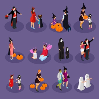 Isometric halloween holiday collection with people wearing hats and costumes of vampire witch ghost fairy devil isolated